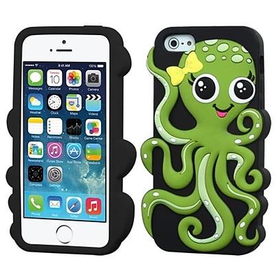 Insten® Pastel Skin Cover F/iPhone 5/5/5SC; Green/Black Octopus