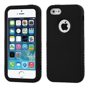 Insten® VERGE Hybrid Rubberized Protector Cover F/iPhone 5/5S, Black/Black
