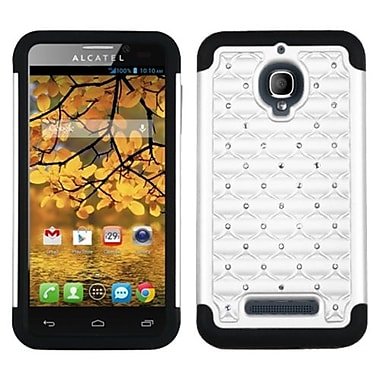 Insten® Luxurious Lattice Dazzling TotalDefense Protector Case For Alcatel 7024W, White/Black