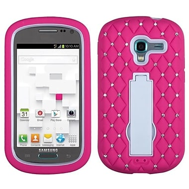 Insten® Symbiosis Stand Protector Case W/Diamonds F/Samsung T599 Galaxy Exhibit, White/Hot-Pink