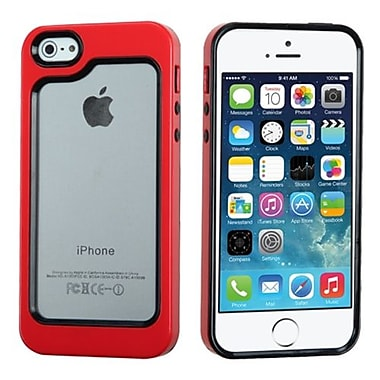 Insten MyBumper Phone Protector Cover For iPhone 5/5S, Black/Solid Red (1837547)