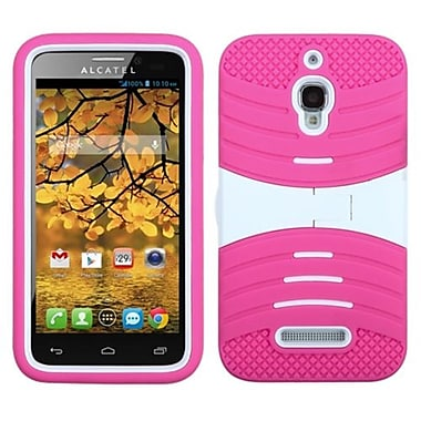 Insten® Symbiosis Protector Case With Horizontal Stand For Alcatel 7024W, White/Hot-Pink Wave