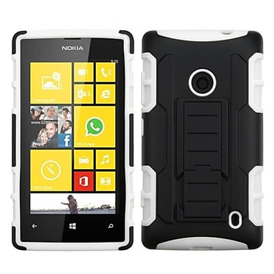 Insten® Rubberized Car Armor Stand Protector Case For Nokia Lumia 520; Black/White