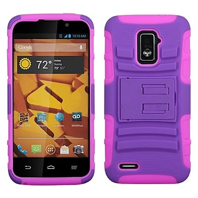 Insten® Advanced Armor Stand Protector Case For ZTE N9510 Warp 4G, Purple/Electric Pink