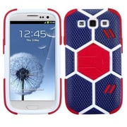 Insten® Hybrid Protector Case With Red Stand For Samsung Galaxy SIII; Sapphire Blue/Red Goalkeeper