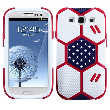 Insten® Hybrid Protector Case W/Sapphire Blue Stand For Samsung Galaxy SIII, White/Red Goalkeeper