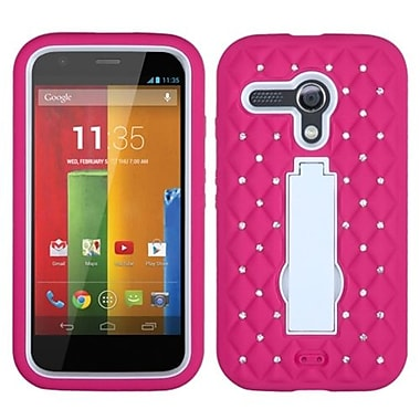 Insten® Symbiosis Stand Protector Case For Motorola G, White/Hot-Pink