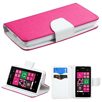 Insten® MyJacket Wallet With Card Slot For Nokia 521; Hot-Pink/White