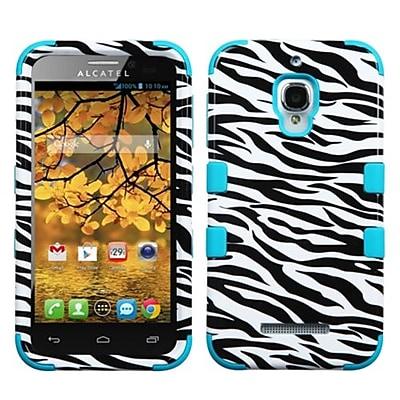 Insten® TUFF Hybrid Phone Protector Case F/Alcatel 7024W; Zebra Skin/Tropical Teal