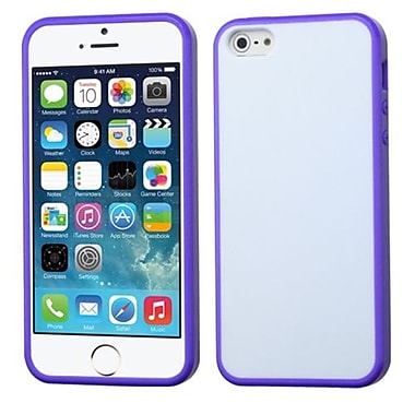 Insten® Gummy Cover F/iPhone 5/5S, Glassy Solid White/Purple