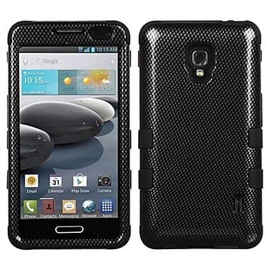 Insten® TUFF Hybrid Phone Protector Case For LG D500/MS500, Black Carbon Fiber