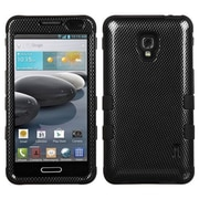 Insten® TUFF Hybrid Phone Protector Case For LG D500/MS500, Black Carbon Fiber