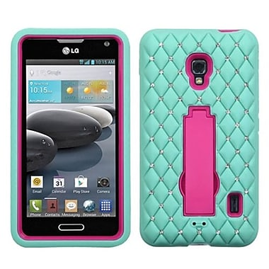 Insten® Symbiosis Stand Protector Case For LG D500, Hot-Pink/Sky Blue