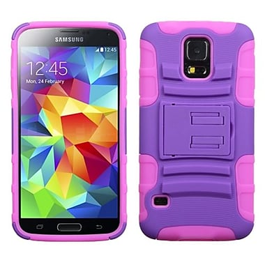 Insten® Advanced Armor Stand Protector Case For Samsung Galaxy S5, Purple/Electric Pink