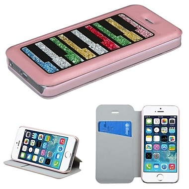 Insten® MyJacket Wallet Case W/Colorful Beads Inside Rectangles For iPhone 5/5S, Pink