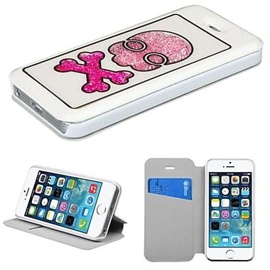 Insten® MyJacket Wallet Case W/Colorful Beads Inside Skull For iPhone 5/5S, White