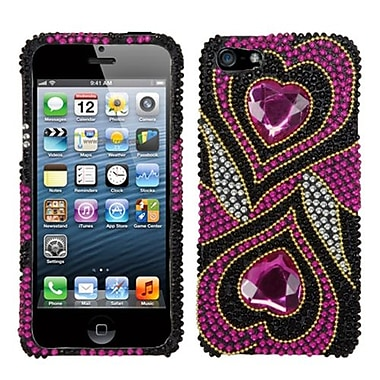 Insten® Diamante Phone Protector Cover F/iPhone 5/5S, Hot-Pink Hypnotic Hearts
