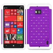 Insten® Luxurious Lattice Dazzling Protector Cover For Nokia Lumia Icon 929; Purple/Solid White