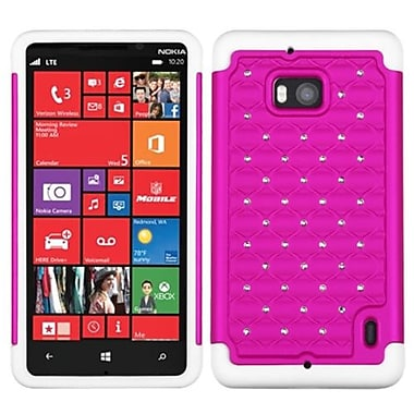 Insten® Luxurious Lattice Dazzling Protector Cover For Nokia Lumia Icon 929, Hot-Pink/Solid White