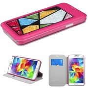 Insten® MyJacket With Colorful Beads Inside Abstract Triangles For Samsung Galaxy S5, Hot-Pink