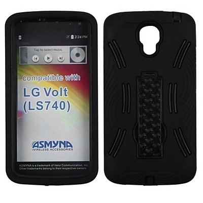 Insten® Symbiosis Stand Protector Cover For LG LS740; Black/Black
