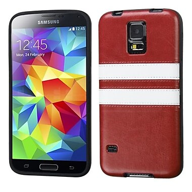 Insten Candy Skin Cover With Leather Backing For Samsung Galaxy S5, Brown/White (1860955)
