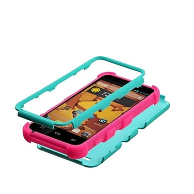 Insten® TUFF Hybrid Protector Cover For ZTE N9510 Warp 4G, Teal Green/Electric Pink