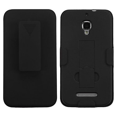 Insten® Rubberized Hybrid Holster With Stand For Alcatel 7024W, Black