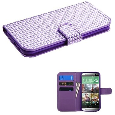 Insten® Book-Style MyJacket Wallet For HTC-One M8, Purple Diamonds
