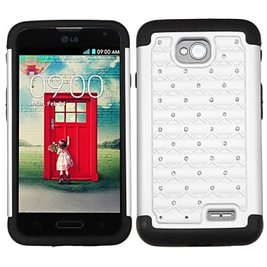 Insten® Protector Cover For LG MS323/VS450PP, White/Black Luxurious Lattice Dazzling