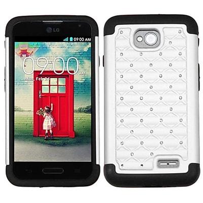 Insten® Protector Cover For LG MS323/VS450PP; White/Black Luxurious Lattice Dazzling