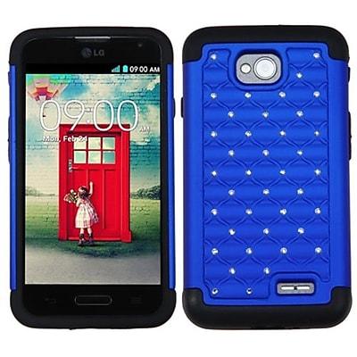 Insten® Protector Cover For LG MS323/VS450PP; Dark Blue/Black Luxurious Lattice Dazzling