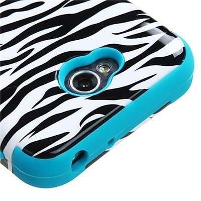 Insten® TUFF Hybrid Phone Protector Cover For LG MS323/VS450PP; Tropical Teal Zebra