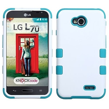 Insten® TUFF Hybrid Phone Protector Cover For LG MS323/VS450PP, Ivory White/Tropical Teal