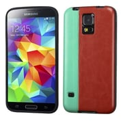 Insten® Candy Skin Cover With Leather Backing For Samsung Galaxy S5, Grass Green/Reddish Brown