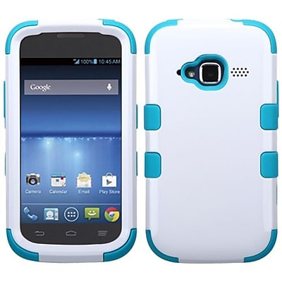 Insten® TUFF Hybrid Protector Cover For ZTE Z730 Concord II, Ivory White/Tropical Teal