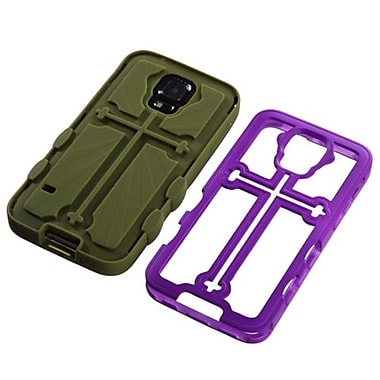 Insten® Rubberized Protector Cover F/Samsung Galaxy S5, Grape/Yellowish Green Cross