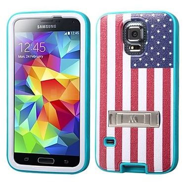 Insten® VERGE Protector Cover W/Stand F/Samsung Galaxy S5, United States National Flag/Tropical Teal