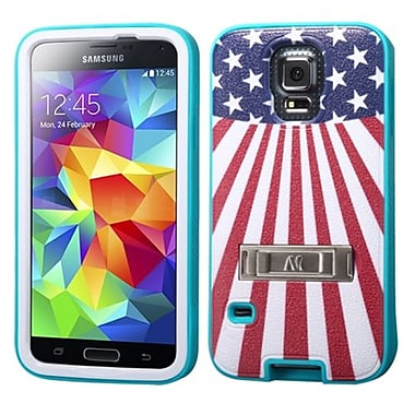 Insten® VERGE Protector Cover W/Stand F/Samsung Galaxy S5, Tropical Teal/United States National Flag