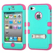 Insten® TUFF Hybrid Phone Protector Cover W/Stand F/iPhone 4/4S, Natural Teal Green/Electric Pink