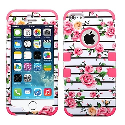 Insten® TUFF Hybrid Phone Protector Cover F/iPhone 5/5S; Pink Fresh Roses/Electric Pink