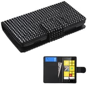 Insten® Diamonds Book-Style MyJacket Wallet With Card Slot For Nokia Lumia 520, Black