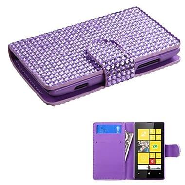 Insten® Diamonds Book-Style MyJacket Wallet With Card Slot For Nokia Lumia 520, Purple
