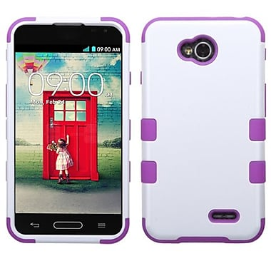 Insten® TUFF Hybrid Phone Protector Cover For LG VS450PP/MS323, Ivory White/Electric Purple