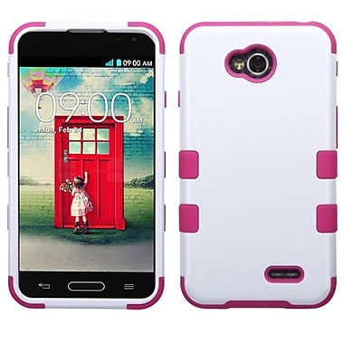 Insten TUFF Hybrid Phone Protector Cover For LG VS450PP/MS323, Ivory White/Hot Pink (1910730)