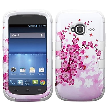 Insten® TUFF Hybrid Protector Cover For ZTE Z730 Concord II, Spring Flowers/Solid White