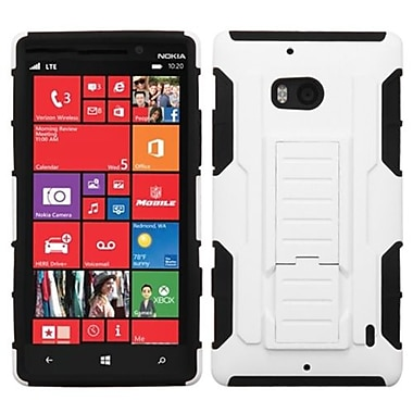 Insten® Rubberized Car Armor Stand Protector Case For Nokia Lumia Icon 929, White/Black