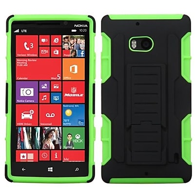 Insten® Rubberized Car Armor Stand Protector Case For Nokia Lumia Icon 929; Black/Electric Green