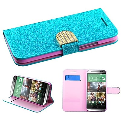 Insten® MyJacket Wallet For HTC-One M8; Blue Glittering
