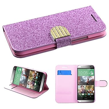 Insten MyJacket Wallet For HTC-One M8, Purple Glittering (1920996)